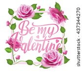 be my valentine card on wooden...   Shutterstock .eps vector #437344270