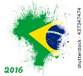 map of brazil in the shape of a ... | Shutterstock .eps vector #437347474