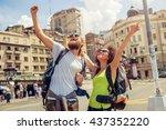 euphoric happy couple of... | Shutterstock . vector #437352220