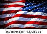 an american flag boldly flying... | Shutterstock . vector #43735381