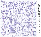 notebook travel doodle icons... | Shutterstock .eps vector #437357680