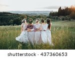 girls in dresses and wreaths of ... | Shutterstock . vector #437360653