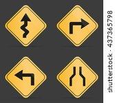 set of orange road sign on a... | Shutterstock .eps vector #437365798