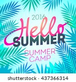 hello summer holiday and summer ... | Shutterstock .eps vector #437366314