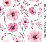 Stock photo watercolor pink flowers and berries seamless pattern 437372440