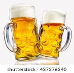two glass beer mugs full of... | Shutterstock . vector #437376340