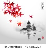 red japanese maple leaves and... | Shutterstock .eps vector #437381224