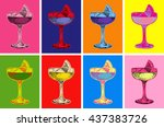 set of colored cocktails vector ... | Shutterstock .eps vector #437383726