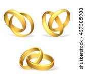vector wedding rings on white... | Shutterstock .eps vector #437385988