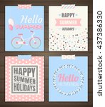 summer holidays cards. vector... | Shutterstock .eps vector #437386330