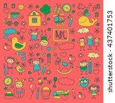 doodle vector kindergarten... | Shutterstock .eps vector #437401753
