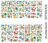 doodle vector kindergarten... | Shutterstock .eps vector #437402416
