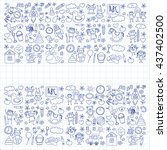 doodle vector kindergarten...   Shutterstock .eps vector #437402500