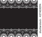 indian  mehndi henna line lace... | Shutterstock . vector #437403094