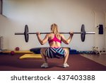 young adult girl doing heavy... | Shutterstock . vector #437403388