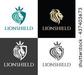 lion shield logo design... | Shutterstock .eps vector #437403673
