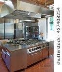 typical kitchen of a restaurant ... | Shutterstock . vector #437408254