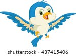 happy blue bird cartoon flying | Shutterstock .eps vector #437415406