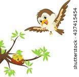 mother bird with her child in...   Shutterstock .eps vector #437415454
