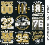 new york sport wear typography... | Shutterstock .eps vector #437419804