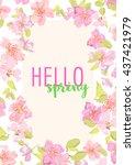hello spring. sakura flowers.... | Shutterstock . vector #437421979