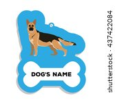 isolated blue dog tag with text ... | Shutterstock .eps vector #437422084
