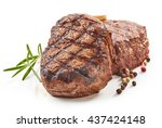 grilled beef steaks with spices ... | Shutterstock . vector #437424148