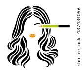 beautiful girl with wavy long... | Shutterstock .eps vector #437434096