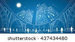 big bridge  night city on... | Shutterstock .eps vector #437434480
