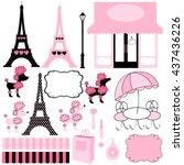paris and pink poodle ooh la la ... | Shutterstock .eps vector #437436226
