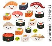 emoji sushi characters | Shutterstock . vector #437440438