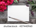 white paper card with brush on... | Shutterstock . vector #437440960