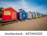 brighton beach bathing boxes in ...   Shutterstock . vector #437444320
