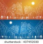 big bridge  night city on... | Shutterstock .eps vector #437452030