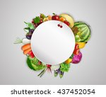 empty plate with fruits and... | Shutterstock . vector #437452054