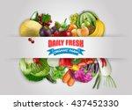 daily fresh organic farm banner ...   Shutterstock .eps vector #437452330