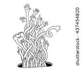 hands up  doodle sketching   Shutterstock .eps vector #437454820