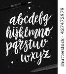 handwritten script alphabet set.... | Shutterstock .eps vector #437472979