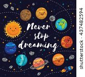never stop dreaming. awesome... | Shutterstock .eps vector #437482594