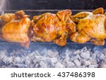 rotating machine are grilled... | Shutterstock . vector #437486398