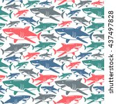 Shark Seamless Pattern. Color ...