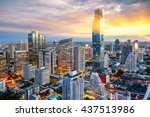 bangkok city at sunset ... | Shutterstock . vector #437513986