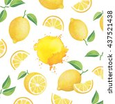 fresh ripe lemons with leaves.... | Shutterstock . vector #437521438