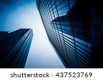 low angle view of skyscrapers... | Shutterstock . vector #437523769