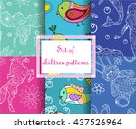 vector set of seamless patterns ... | Shutterstock .eps vector #437526964