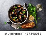 Mussels In Copper Pot And White ...