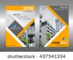 yellow annual report leaflet...   Shutterstock .eps vector #437541334