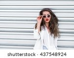 stylish portrait of a beautiful ... | Shutterstock . vector #437548924