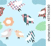 seamless pattern of birds with... | Shutterstock .eps vector #437563180