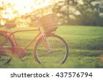 red japan style classic bicycle ... | Shutterstock . vector #437576794